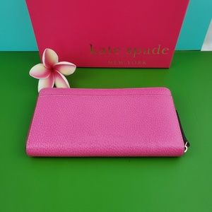 kate spade Bags - kate spade Zip Around Wallet With Box Hot Pink